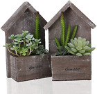 Remittur 2 Pack Fake Plants with Cabin, Small Artificial Plants for Bedroom Deco