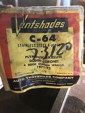 Auto Ventshade Stainless Steel Ventshades 73120. C-4 Plymouth 71-72