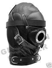 REAL LEATHER SENSORY DEPRIVATION HOOD BDSM MASK - GREENMAN LEATHER