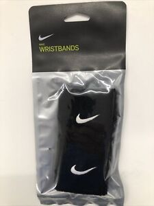 Nike Swoosh Black Wristbands Tennis Football Running Gym Sports Sweatbands