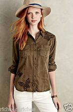 NEW Anthropologie Holding Horses olive Embroidered Butterfly Buttondown Top 4