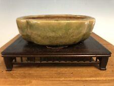 "Green Mokko Shape Glazed Shohin Size Bonsai Tree Pot By Heian Kosen 5"""