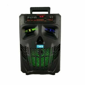 "Portable Wireless Bluetooth Speaker Rechargeable LED Skull Party Speaker 8"""