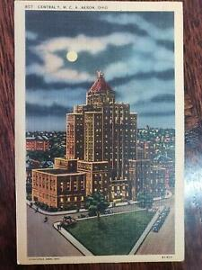 1942 Central YMCA Akron Ohio OH Linen Postcard Night Street View Cars People