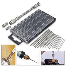 21pc Mini Micro Twist Drill 0.3-1.6mm HSS Bit Set Hand Spiral Pin Vise Jewelr RT