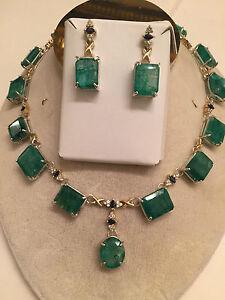 New 160+Ct Zambian Emerald, Sapphire & diamond 14k gold necklace & Earrings set