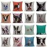 Boston Terrier French Bulldog  Fashion Pillow Case Square Sofa Cushion Cover
