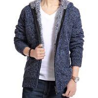 New Fashion Men Casual Hooded Cardigan Coat Sweater Zipper Warm Overcoat Jackets