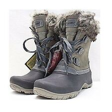 NEW KHOMBU Ladies' Leather Slope Winter Boots Size 9 Grey w/Faux Fur Trim