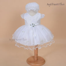 Newborn Baby Christening Gown Infant Baptism Party Wedding Dress with hat/bonnet