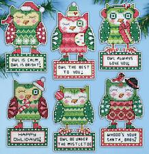 Cross Stitch Kit ~ Design Works Happy Owlidays 6 Christmas Ornaments #Dw1696