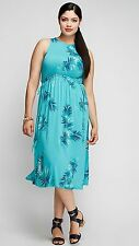 LANE BRYANT PLUS SIZE SLEEVELESS TANK TROPICAL PRINT DRESS 18/20 TURQUOISE