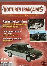 VOITURES FRANCAISES HACHETTE FASCICULE N°50 RENAULT 9 PANHARD PEUGEOT 403 4CV