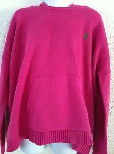 Ralph Lauren Girls Shirt Hot Pink Sweater Hoodie LS Kangaroo Pk Sz M(8-10) NWT