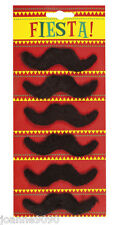 6 X False Self Adhesive Black Party Character Moustaches Carnival Fancy Dress