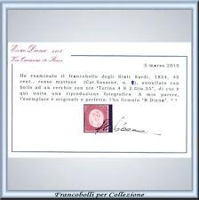 1854 Sardegna c. 40 n. 9 Usato Certificato FARE OFFERTE