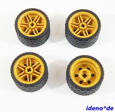 Lego Technik 4 x Reifen 37 x 22 mit perl golde Felge 55978 56145 42046  Neu