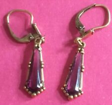 Drop Amethyst Ladies Evening Earrings Antique Fine Edwardian 9ct Solid Gold