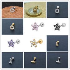 Cartilage Tragus Bar Barbell Stud Earing Piercing Helix CZ Gem Surgical Steel UK