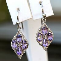 1.50ct Amethyst Dangle Earrings 925 Sterling Silver February Birthstone Gift Box