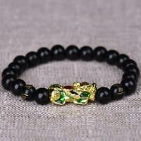 Reichtum Viel Glück Drachenglasschmuck Feng Shui Obsidian Pixiu Armband N9A0