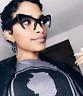 "Cat Eye Retro ""RAZOR""  Women Eyeglasses Cut Off Lenses Semi Rimless BLACK SHADZ"