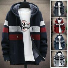 New listing Mens Winter Fleece Sweater Cardigan Plus Size Contrast Color Hooded Jacket  Top