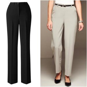 Slimma Ladies Black Classic Tapered Leg Smart Formal Work Trousers Size 10 12 14