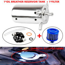 0.5L Universal Aluminum Car Oil Catch Tank Can Reservoir Breather Air Filter