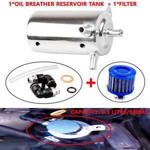 0.5L Universal Aluminum Car Oil Catch Tank Can Reservoir Breather Air Filter