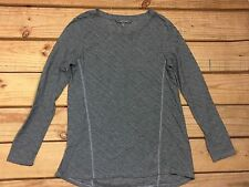 Daisy Fuentes Knit Top Womens Gray Pleated Long Sleeve Size S