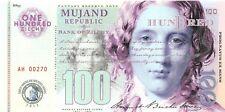 Mujand Republic Banknote 100 Zilchy 2013 Unc Specimen, Private, Note