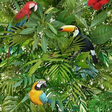 Tropical Jungle Wallpaper Parrot Toucan Bird Pattern Flower Leaves Leaf Muriva