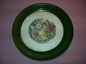 "Vintage Taylor Smith  Colonial George &  Martha Washington Green 9"" Dinner Plate"