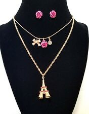 💝💝💝Betsey Johnson  Eiffel Tower Paris 2 Necklace & Earring Set Pink Gold Tone