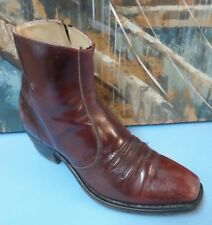 Mens Dress Ankle Leather Cuban Heel Formal Trending Boots  Burgundy Size 8.5 D/B