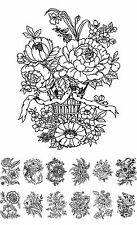 """Adult Coloring Cards Book (24 cards 4.5""""x6.5"""") Flowers Wildflowers FLONZ 001"""