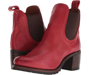 New in Box Womens Frye Sabrina Chelsea Boots Burnt Red Leather 8.5 MSRP $ 378