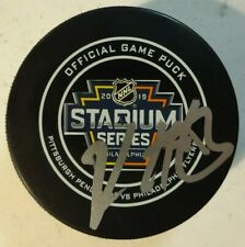 Autographed KRIS LETANG Signed 2019 Stadium Series Pittsburgh Penguins Game Puck