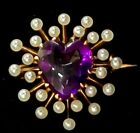 Antique Victorian 14k Gold Amethyst Pearl Heart Brooch Pin-Estate Jewelry  2.3g