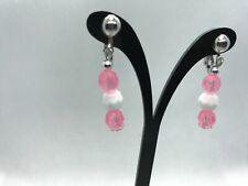 Pink and white Earrings Clip-on Beaded Dangle Female US Auction .99