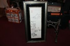 Chinese Drawing Painting Man Water Mountains Bridge Signed Stamped Framed