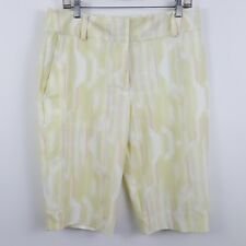 Nike Golf Womens Flat Front Yellow Geometric Athletic Golf Shorts Sz Medium M/10