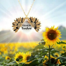 Double Layer YOU ARE MY SUNSHINE Engraved Sunflower Necklace, Great Gift US Ship