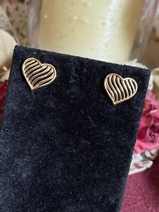 Solid 14K Cute Golden Heart Of Gold Earrings Post Estate Jewelry