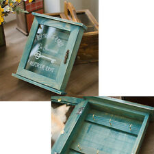 Vintage Pastel Blue Wooden Key Wall Box Holder Storage Case With Glass Door