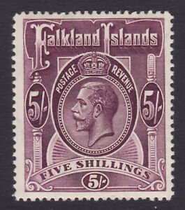 Falkland Islands. SG 67b, 5/- maroon. Fine mounted mint.