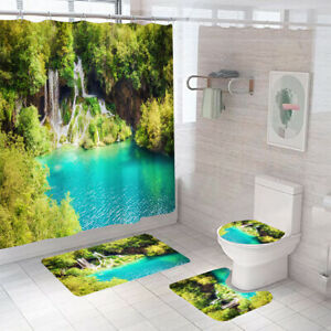Beautiful Scenery Shower Curtain Set Thick Bath Rugs Bath Mat Toilet Lid Cover
