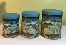 Village Metal Canisters -3 -Fit Inside Themselves - Part #06210 -Made In Taiwan