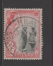 SWAZILAND 1956 3d BLACK & RED With MBABANE POSTMARK
